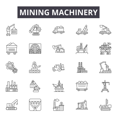 Mining machinery & equipment line icons, signs set, vector. Mining machinery & equipment outline concept illustration