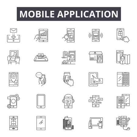 Mobile application line icons, signs set, vector. Mobile application outline concept illustration: mobile,application,technology,internet,phone,computer,web