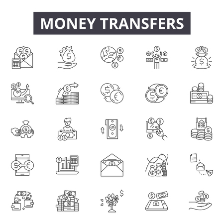 Money transfers line icons, signs set, vector. Money transfers outline concept illustration: money,dollar,cash,business,finance,transfer,bank Illustration
