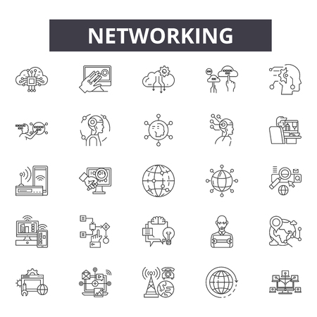 Networking line icons, signs set, vector. Networking outline concept illustration: connection,network,internet,communication,social,media,global Ilustrace