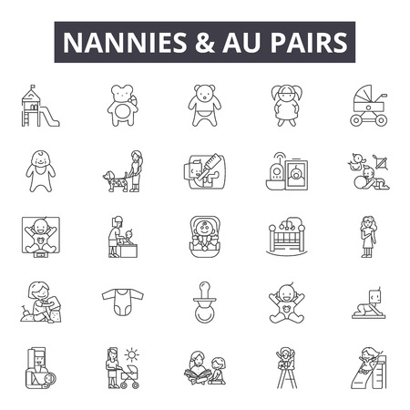 Nannies and au pairs line icons, signs set, vector. Nannies and au pairs outline concept illustration: babysitter,nanny,child,care,baby,au pair,logo