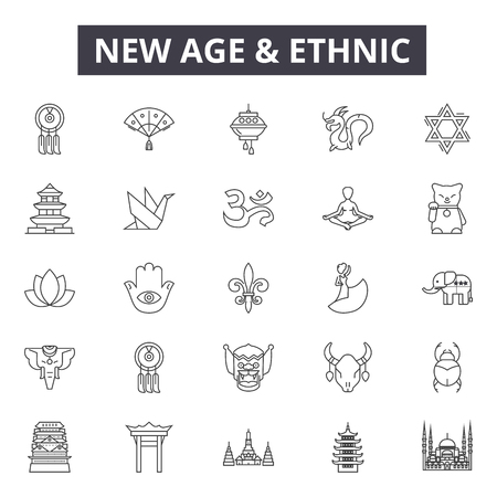 New age and ethnic line icons, signs set, vector. New age and ethnic outline concept illustration: culture,ethnic,background,new,ink,religion,tourism