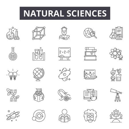 Ikony linii nauk przyrodniczych, zestaw znaków, wektor. Ilustracja koncepcji zarysu nauk przyrodniczych: nauka, przyroda, chemia, badania, technologia, przyroda