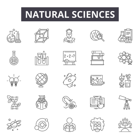 Natuurwetenschappen lijn pictogrammen, borden set, vector. Natuurwetenschappen schetsen concept illustratie: wetenschap, natuur, chemie, onderzoek, technologie, natuurlijk