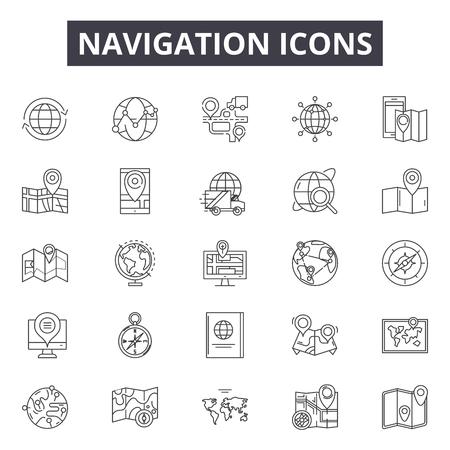 Navigation line icons, signs set, vector. Navigation outline concept illustration: arrow,navigation,gps,road,search,travel