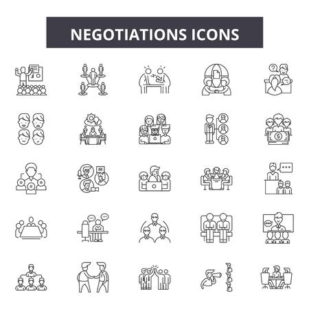 Negotiations line icons, signs set, vector. Negotiations outline concept illustration: negotiation,business,people,partnership,businessman,design Vector Illustratie