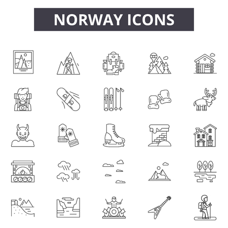 Norway line icons, signs set, vector. Norway outline concept illustration: norway,travel,norwegian,isolated,europe Illustration