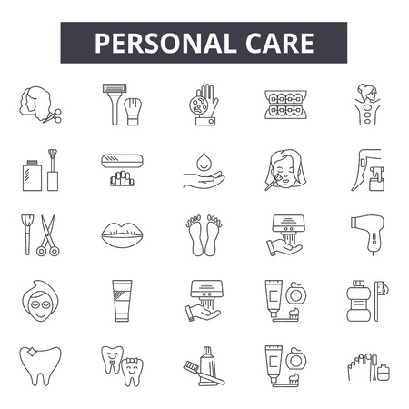 Personal care line icons, signs set, vector. Personal care outline concept illustration: care,personal,soap,brush,hygiene Standard-Bild - 125065150