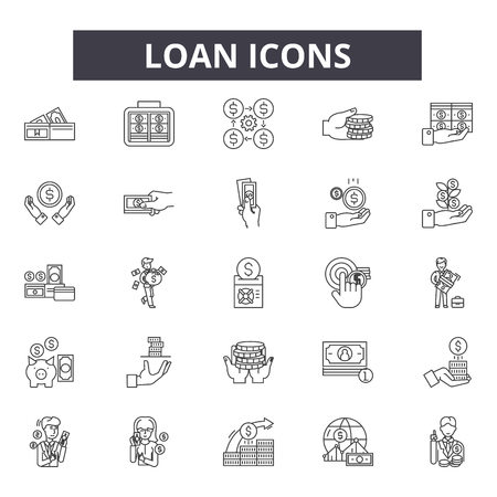 Loan line icons, signs set, vector. Loan outline concept illustration: loan,money,business,payment,finance,investment,banking,bank,cash
