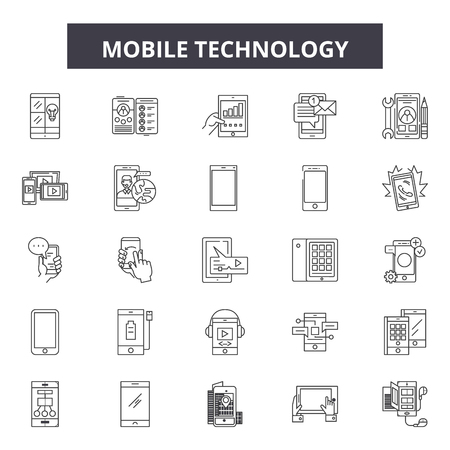 Mobile technology line icons, signs set, vector. Mobile technology outline concept illustration: technology,computer,mobile,web,connection,internet