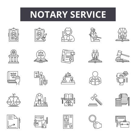 Notar-Service-Line-Symbole, Zeichensatz, Vektor. Notardienst-Umrisskonzeptillustration: Dienstleistung, Recht, Recht, Geschäft, Notar, Rechtsanwalt, Gericht