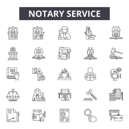 Notary service line icons, signs set, vector. Notary service outline concept illustration: service,legal,law,business,notary,lawyer,court Illustration