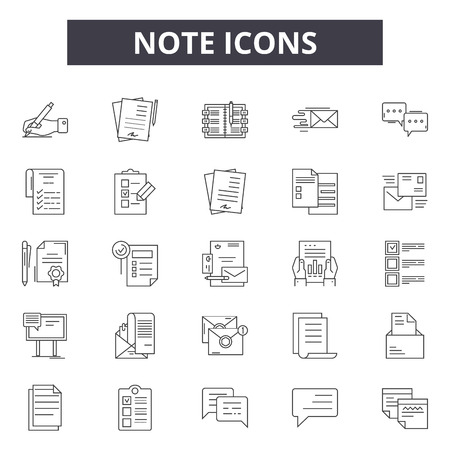 Note line icons, signs set, vector. Note outline concept illustration: note,graphic,isolated,object,element