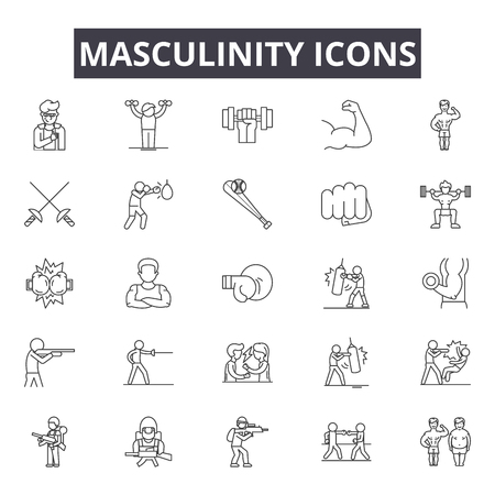 Masculinity line icons, signs set, vector. Masculinity outline concept illustration: mascumale,man,boy,style,symbol