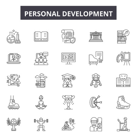 Personal development line icons, signs set, vector. Personal development outline concept illustration: business,personal,development,success,career,human,management,people