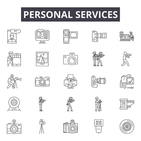 Personal services line icons, signs set, vector. Personal services outline concept illustration: service,personal,web,customer,business,account