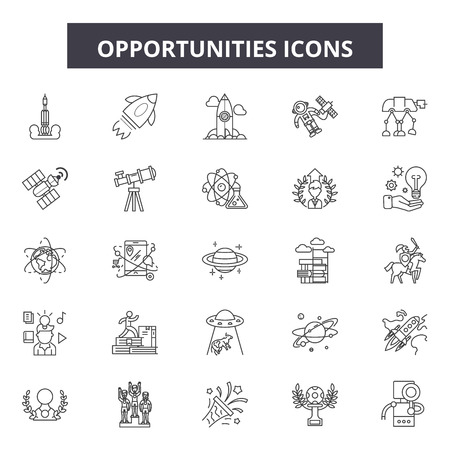 Opprtunities line icons, signs set, vector. Opprtunities outline concept illustration: Top 24 Keywords:,deal,special,word,text,sale,deals,offer,great