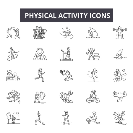 Physical activity line icons, signs set, vector. Physical activity outline concept illustration: physical,activity,exercise,sport,healthy,man,health,training