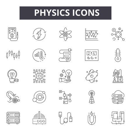Physics line icons, signs set, vector. Physics outline concept illustration: science,physics,atom,chemistry,molecule,technology,medicine Illusztráció