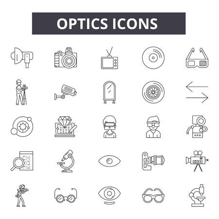 Icone della linea di ottica, set di segni, vettore. Illustrazione del concetto di contorno dell'ottica: ottica,tecnologia,ottica,informazioni,connessione,isolata,fibra,rete Vettoriali