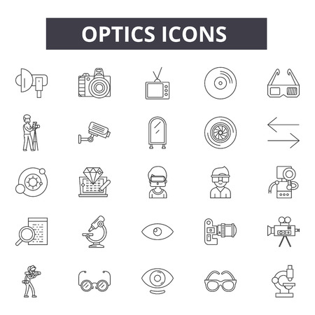 Optics line icons, signs set, vector. Optics outline concept illustration: optic,technology,optical,information,connection,isolated,fiber,network