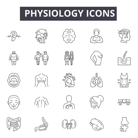 Physiology line icons, signs set, vector. Physiology outline concept illustration: physiology,medical,body,health,human,science Illustration