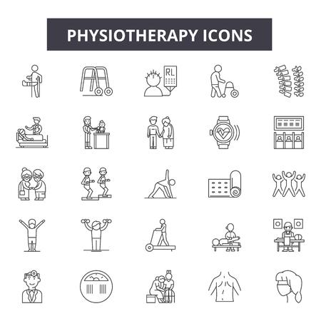 Icone della linea di fisioterapia, set di segni, vettore. Illustrazione di concetto del profilo di fisioterapia: medico, fisioterapia, salute, cura, paziente, riabilitazione, terapia, massaggio, trattamento