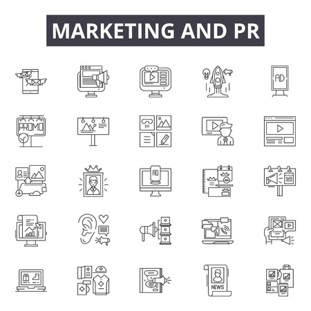Marketing & pr line icons, signs set, vector. Marketing & pr outline concept illustration: pr,marketing,media,communication,concept,business,megaphone,design