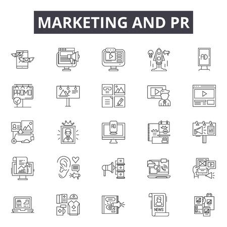 Marketing- und PR-Liniensymbole, Zeichensatz, Vektor. Illustration des Marketing- und PR-Gliederungskonzepts: PR, Marketing, Medien, Kommunikation, Konzept, Geschäft, Megaphon, Design Vektorgrafik