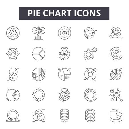 Pie chart line icons, signs set, vector. Pie chart outline concept illustration: chart,pie,diagram,business,graph,graphic Illustration