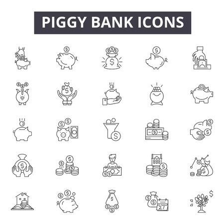 Piggy bank line icons, signs set, vector. Piggy bank outline concept illustration: money,coin,finance,bank,piggy,cash,banking,economy,currency