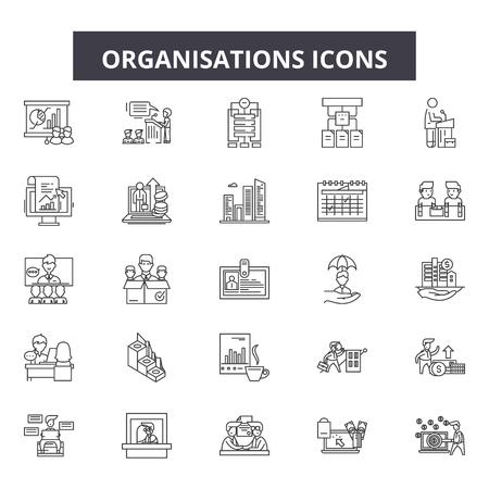 Organisation line icons, signs set, vector. Organisation outline concept illustration: business,organisation,team,corporate,teamwork,group,manager