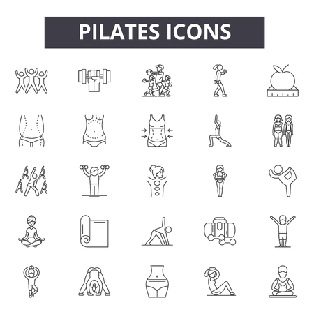 Pilates line icons, signs set, vector. Pilates outline concept illustration: pilates,health,yoga,exercise,fitness,sport,healthy,body