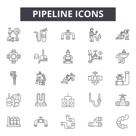 Pipeline line icons, signs set, vector. Pipeline outline concept illustration: pipepipe,gas,fuel,oil