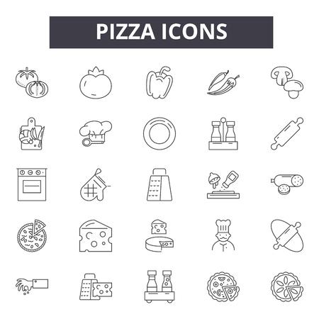Icone della linea pizza, set di segni, vettore. Illustrazione del concetto di contorno della pizza: formaggio, cibo, pizza, fetta, pranzo, cena, ristorante, veloce Vettoriali