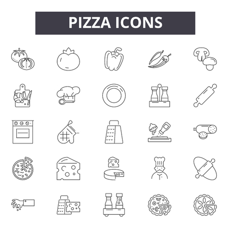 Pizza line icons, signs set, vector. Pizza outline concept illustration: cheese,food,pizza,slice,lunch,dinner,restaurant,fast