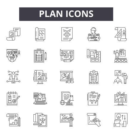 Plan lijn pictogrammen, borden set, vector. Plan schets concept illustratie: plan, business, strategie, demarketing