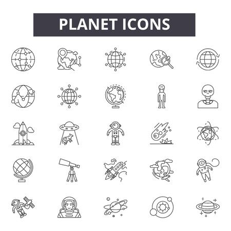 Iconos de la línea del planeta, conjunto de signos, vector. Ilustración del concepto de contorno del planeta: planeta, tierra, aislado, globo, espacio
