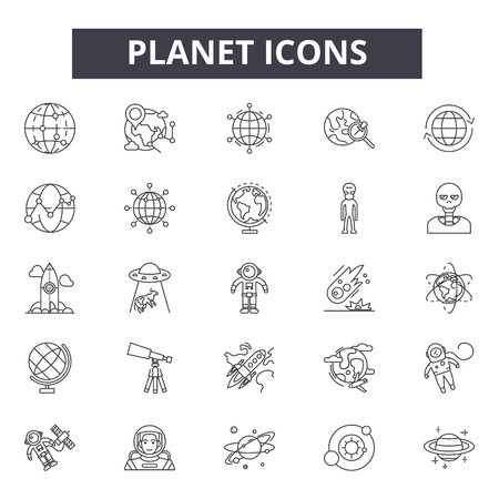 Planet line icons, signs set, vector. Planet outline concept illustration: planet,earth,isolated,globe,space
