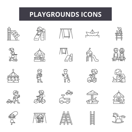 Playgrounds line icons, signs set, vector. Playgrounds outline concept illustration: playground,fun,park,slide,play,swing,symbol Illustration