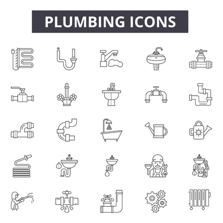 Plumbing line icons, signs set, vector. Plumbing outline concept illustration: plumbing,water,pipe,faucet,bathroom,toilet,service,plumber Ilustrace