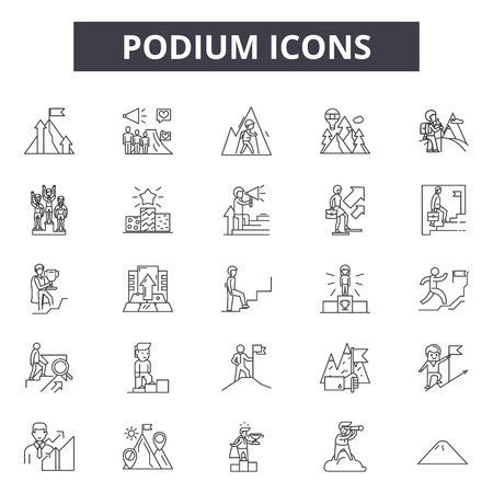 Podium line icons, signs set, vector. Podium outline concept illustration: podium,isolated,presentation,business,platform