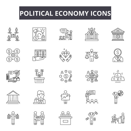 Political economy line icons, signs set, vector. Political economy outline concept illustration: economy,depolitics,business,country,concept,national Illustration