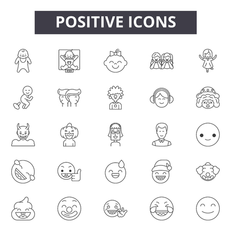 Positive line icons, signs set, vector. Positive outline concept illustration: positive,like,flat,good,isolated Illustration
