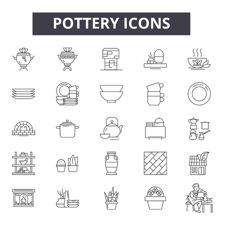 Pottery line icons, signs set, vector. Pottery outline concept illustration: pottery,pot,decoration,clay,vase,design