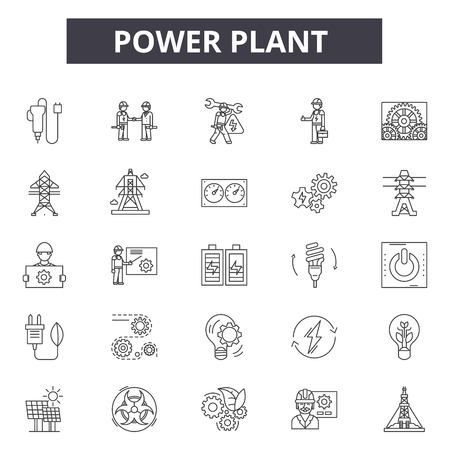 Power plant line icons, signs set, vector. Power plant outline concept illustration: plant,power,electricity,factory,energy,industry,building,set