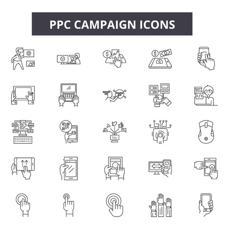 Ppc campaign line icons, signs set, vector. Ppc campaign outline concept illustration: ppc,campaign,strategy,marketing,media,web,search,digital,advertising