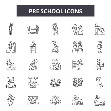 Icônes de ligne préscolaire, ensemble de signes, vecteur. Illustration de concept de contour préscolaire : enfant, mécontent, enfant, préscolaire, jouer