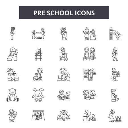 Pre school line icons, signs set, vector. Pre school outline concept illustration: child,dehappy,kid,preschool,play Ilustração