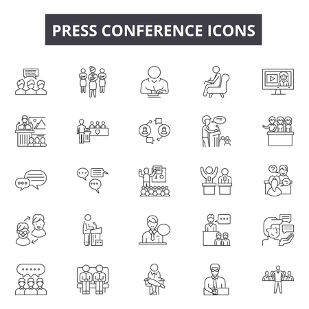 Press conference line icons, signs set, vector. Press conference outline concept illustration: press,conference,microphone,communication,interview,media,news,speech Illustration